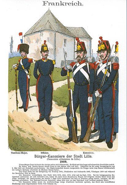 Les canonniers sédentaires de Lille en 1860.