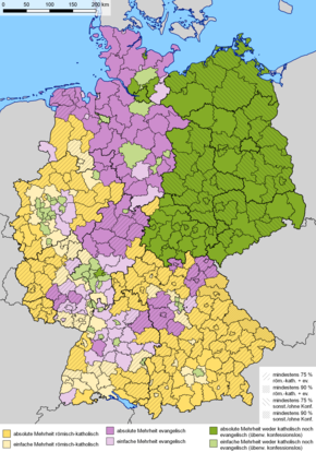 a map of germany showing religious statistics by district catholicism dominates the south and west