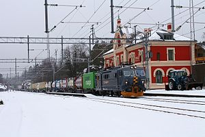 Kornsjø - CargoNet freight train passing through Kornsjø Station