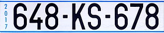 Vehicle registration plates of Kosovo - Image: Kosovo UNMIK plate