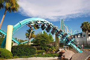Floorless Coaster - One of Kraken's trains going through a corkscrew at Sea World Orlando