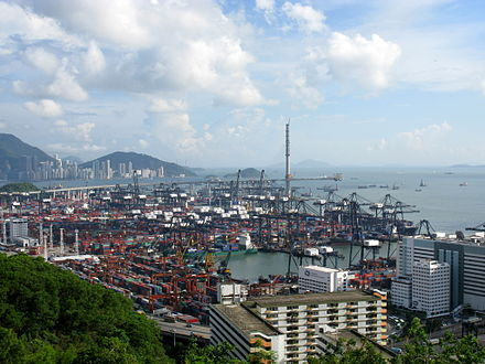 Hong Kong is one of the world's busiest container ports. Kwai Tsing Container Terminals.jpg