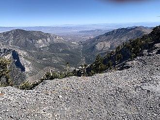 Spring Mountains - View of Mount Charleston (village) in Kyle Canyon.