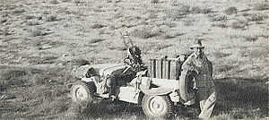 Popski's Private Army - Vladimir Peniakoff with his jeep during the raid on Barce.