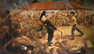 Battle of San Jacinto (1856) - Painter La Pedrada de Andres Castro, with stoning of Sargeant Andres Castro to filibusteros in prime view; the Colonel José Dolores Estrada is in found with a sword contigue to arm left of filibuster colapsen for Castro.