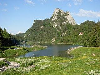 Lac de Taney lake in Valais, Switzerland