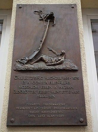 Glass House (Budapest) - Memorial plaque for Carl Lutz