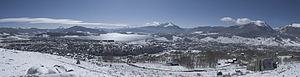 Dillon Reservoir - Panoramic view of the Dillon Reservoir and surrounding towns.