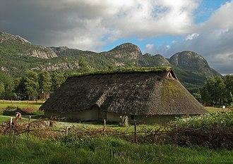 Forsand - View of a Viking house in the Landa museum in Forsand