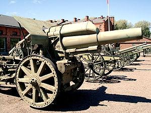 21 cm Mörser 16 - 21 cm Mörser 16 in Hämeenlinna Finnish Artillery Museum.