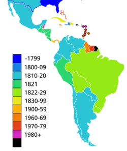 Colonial South America Map.Latin American Wars Of Independence Wikipedia