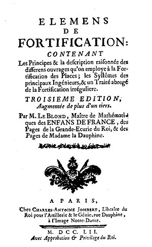 Guillaume Le Blond - Eléments de fortification, 1752