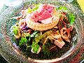 Le Cercle Républicain Jonquières Croustade d'oeuf de caille au lard frit et salade au foie gras.JPG