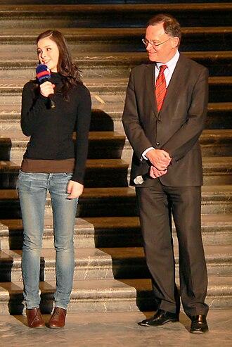 Lena Meyer-Landrut - Meyer-Landrut at Hanover's New City Hall with Mayor Stephan Weil after winning Unser Star für Oslo, March 2010