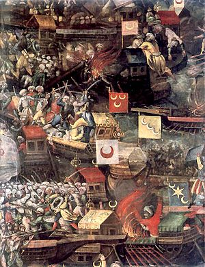 Battle of Lepanto - Depiction of the Ottoman Navy, detail from the painting by Tommaso Dolabella (1632)