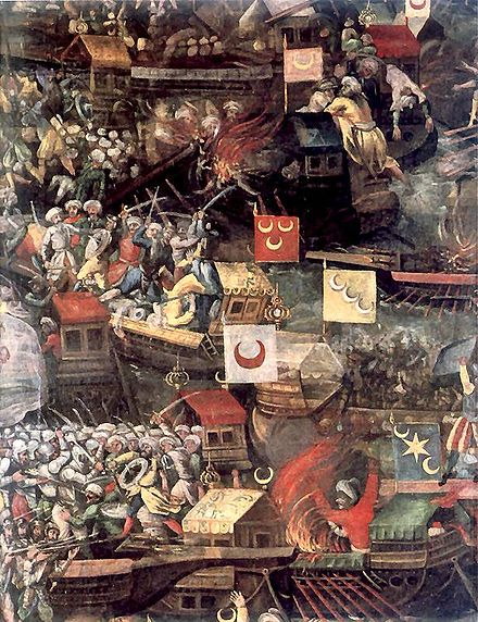 Depiction of the Ottoman Navy, detail from the painting by Tommaso Dolabella (1632) Lepanto f1.jpg