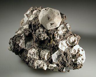 Lake Vico - White crystals of leucite in lava from Poggio Nibbio, Lake Vico