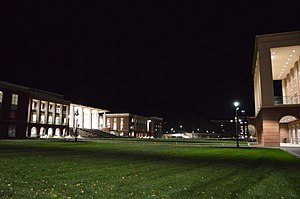Vines Center - Liberty Campus at night with the Vines Center pictured in the background