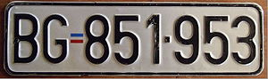 Vehicle registration plates of Serbia - Old registration plate, issued until 2011