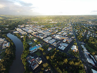 Lismore, New South Wales - Lismore from helicopter, overlooking the Bruxner Highway and Lismore CBD