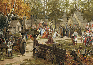 Trinity Lavra of St. Sergius - Sergius of Radonezh blessing Dmitri Donskoi before the Battle of Kulikovo depicted in a 1907 watercolor on paper by Ernst Lissner.