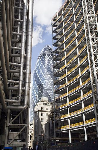 "Steel frame - Rectangular steel frame, or ""perimeter frame"" of the Willis building (at right) contrasted against the diagrid frame at 30 St Mary Axe, London, UK."