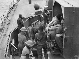 HMS Ladybird (1916) - Image: Loading 6 inch gun HMS Ladybird 1940 AWM 004991