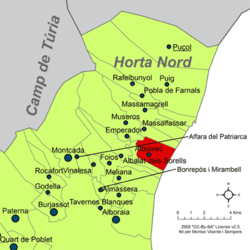 Location in Horta Nord comarca