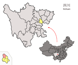 Location of Shehong County (red) within Suining City (yellow) and Sichuan