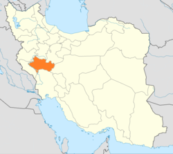 Map of Iran with Loristan highlighted