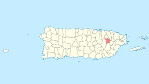 Location of Gurabo in Puerto Rico