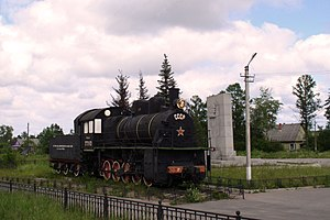Road of Life - The steam locomotive at Petrokrepost railway station established in memory of a railwayman of the Road of Life