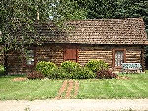 Sheyenne, North Dakota - The Log Cabin Museum on Main Street, built in 1867