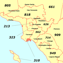 Map of major Southern California area codes