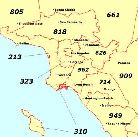 Map of some major area codes in Greater Los Angeles Los Angeles area codes.png