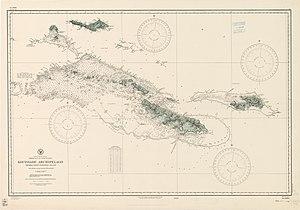 Rossel itään Louisiaden saariston merikartasta