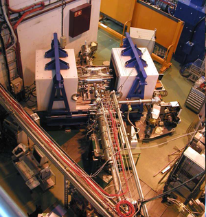 Total absorption spectroscopy - Lucrecia measuring station where the shielding can be seen in white as well as the beam line that delivers the radioactive species.