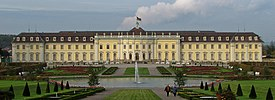 Ludwigsburg Palace's Old Hauptbau and the Baroque Gardens from the south.
