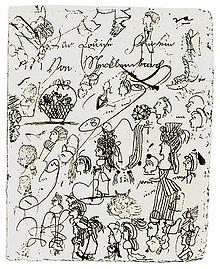 Blatt mit Kritzeleien Luises (Quelle: Wikimedia)