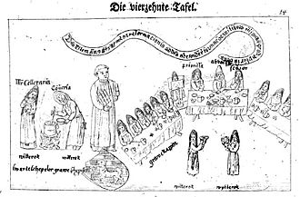 Medingen Abbey - Panel depicting some of the changes in Medingen after the 1479 convent reforms – joint meals where the youngest nun read from the manuscripts, reproduced by Johann Ludolf Lyssmann, 1772 (original art work produced in 1499)