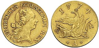 Friedrich dor Prussian gold coin (pistole) nominally worth 5 silver Prussian Reichsthalers