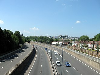 M32 motorway - The southern section of the M32 was the last to be built and passes close to numerous housing estates.