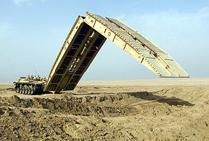 Armoured vehicle-launched bridge - An M60A1 Armored Vehicle Launched Bridge, deploying its scissors-type bridge.