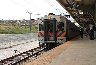 Pennsylvania Station (Baltimore) - Image: MARC train at Baltimore Penn Station 2016 07 28