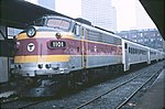 MBTA 1101 with GO coaches at South Station, March 1979.jpg