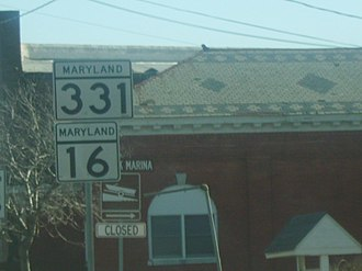 Maryland Route 331 - Shields for MD 16 and MD 331 in Preston.