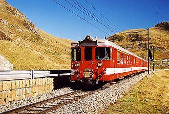 Furka Oberalp Railway - A train on the Oberalp Pass