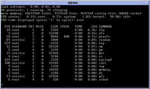 "MINIX - MINIX 3.2 running the ""top"" system monitoring command"