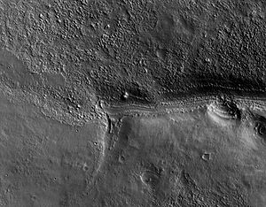 Crop of first image of Mars from the HiRISE camera