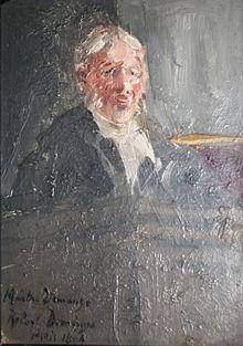 Óleo del natural, por Roberto Domingo, del abogado defensor de Alfred Dreyfus, Maître Demange, durante el juicio de 1894
